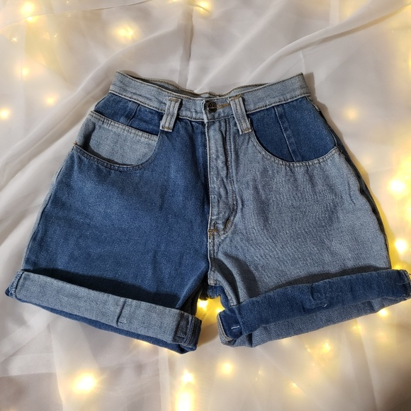 crayon Pants - Mixed denim crayon brand Jean shorts high wasited